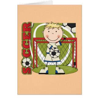 Cartão FUTEBOL - camiseta e presentes louros do Goalie do