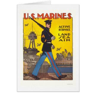 Cartão Fuzileiros navais - serviço ativo - terra, mar, ar