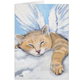 Cartão Gabrielle, gato do anjo nas nuvens que pintam o