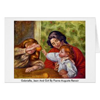 Cartão Gabrielle, Jean e menina por Pierre-Auguste Renoir