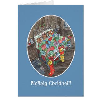 Cartão Gaélico escocês das meias bonitos do Natal dos