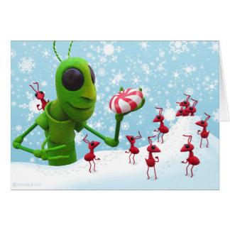 Cartão Gafanhoto e formigas Chirstmas CardGrasshopper e
