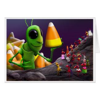 Cartão Gafanhoto e formigas o Dia das Bruxas