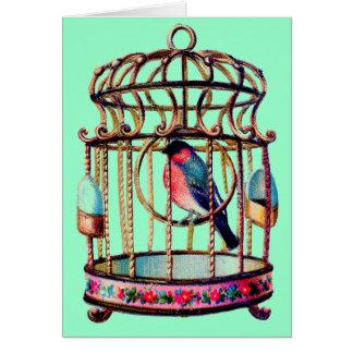 Cartão Gaiola de pássaro cortada sucata do Victorian