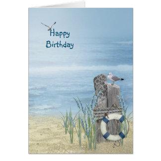 Cartão Gaivota da praia do aniversário