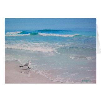 Cartão Gaivota na praia - vazio para dentro