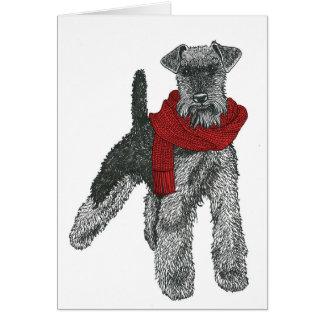Cartão Galês Terrier, vermelho