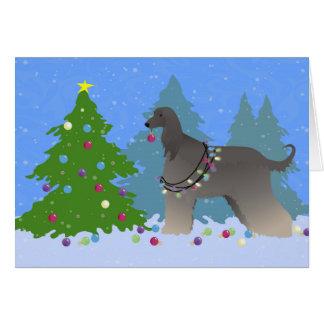Cartão Galgo afegão que decora a árvore-floresta do Natal