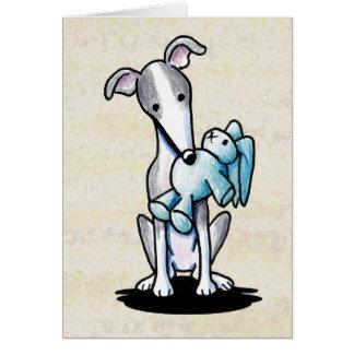 Cartão Galgo com brinquedo do coelho