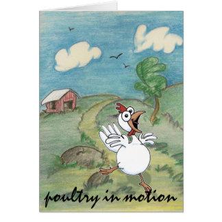 Cartão galinha cómico que sae da capoeira