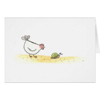 Cartão Galinha e caracol brancos