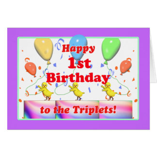 Cartão Galinhas felizes do primeiro aniversario para