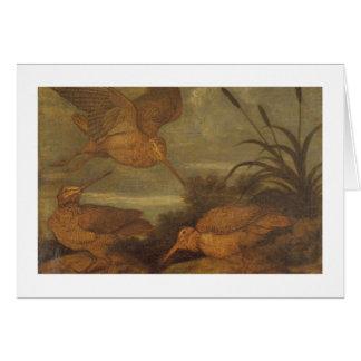 Cartão Galinhola no crepúsculo, c.1676 (óleo em canvas)