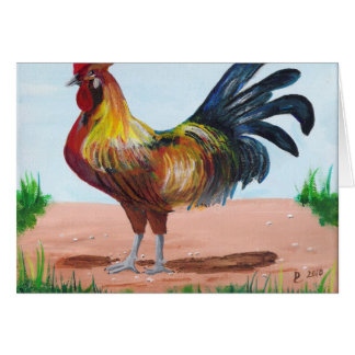 Cartão Galo na fazenda