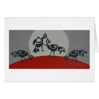 Cartão Galos que sparring, impressão de pintura