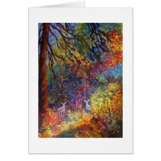 """Cartão """"Gama dois que espreita"""" com o outono"""