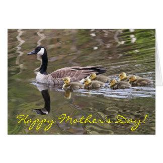 Cartão Ganso de mãe e foto dos gansos do bebê