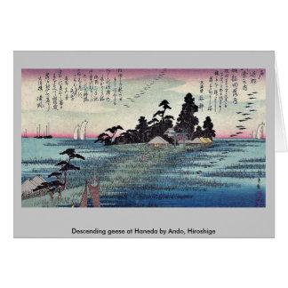 Cartão Gansos descendentes em Haneda por Ando, Hiroshige