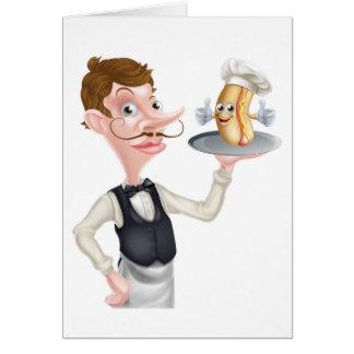 Cartão Garçom do Hotdog dos desenhos animados