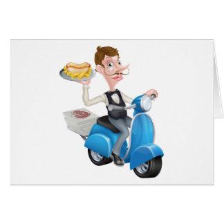 Cartão Garçom dos desenhos animados no Moped do patinete