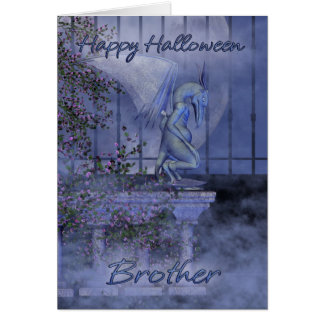 Cartão Gárgula feliz do Dia das Bruxas do irmão