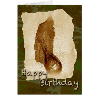 Cartão Garrafa de pó de couro antiga do aniversário