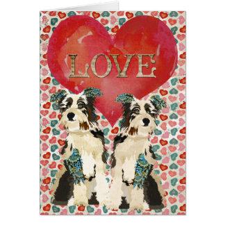 Cartão gasto dos namorados do amor dos cães