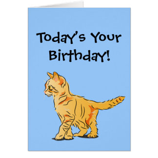 Cartão Gatinho alaranjado do gato malhado no aniversário