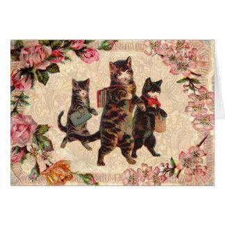 Cartão Gatinho antigo bonito dos gatos do vintage