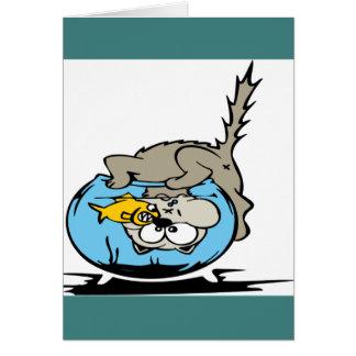 Cartão Gatinho com sua cabeça em um fishbowl