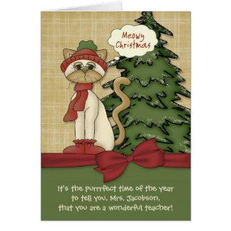 Cartão Gatinho conhecido do Natal do Meowy do professor