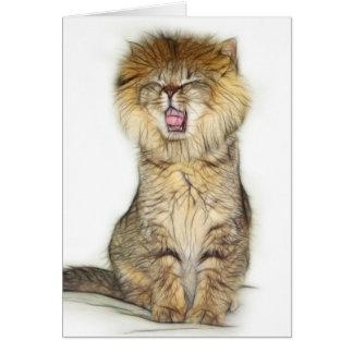 Cartão Gatinho do leão rujir