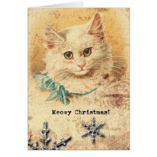 Cartão Gatinho do natal vintage