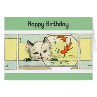Cartão Gatinho e aniversário de Fishbowl