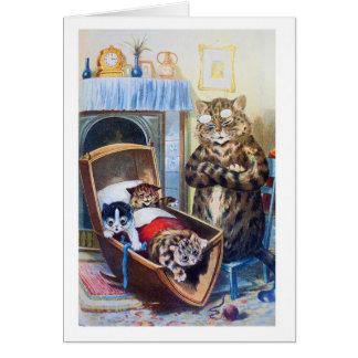Cartão Gatinhos no berço