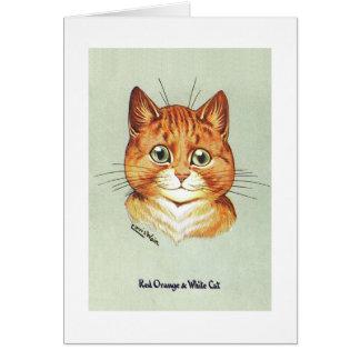 Cartão Gato alaranjado & branco vermelho, Louis Wain