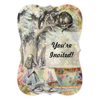 Cartão Gato Alice de Cheshire no país das maravilhas