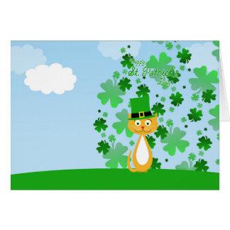 Cartão Gato animado bonito do dia de St Patrick