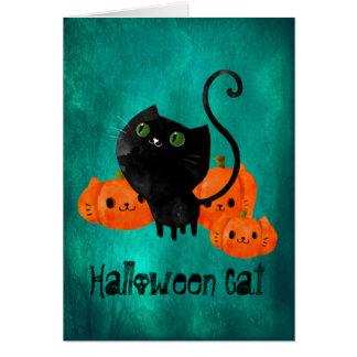 Cartão Gato bonito do Dia das Bruxas com abóboras