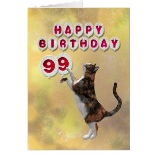 Cartão Gato brincalhão e 99.o balões do feliz aniversario