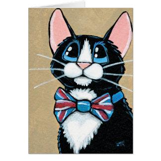 Cartão Gato BRITÂNICO patriótico do smoking que veste a