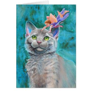 Cartão Gato cinzento com fada