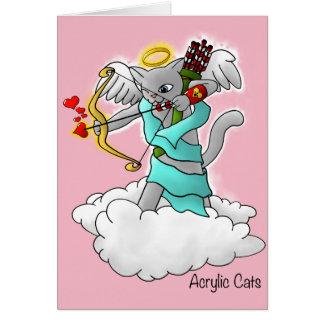 Cartão Gato cinzento do Cupido de Smokey do dia dos