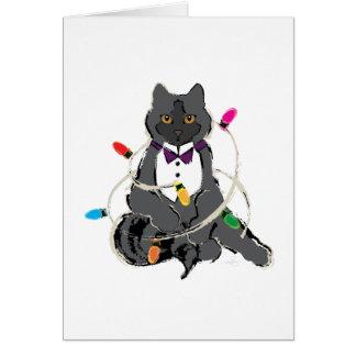 Cartão Gato cinzento do Natal