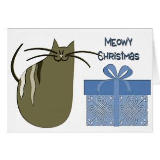 Cartão Gato cinzento do Natal de Meowy com presente azul
