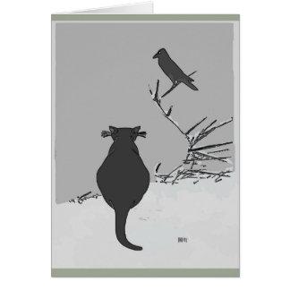 Cartão Gato cinzento na jarda com pássaro