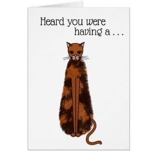 Cartão Gato com dia mau do cabelo - obtenha bem logo