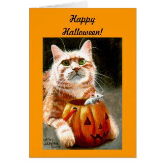 Cartão Gato com o rato na abóbora o Dia das Bruxas feliz!