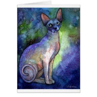 Cartão Gato da esfinge de Sphynx da aguarela # 2 que