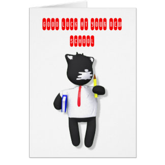 Cartão Gato da massa de vidraceiro de volta à escola